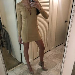 Dresses & Skirts - Long sleeve tan dress very soft! S
